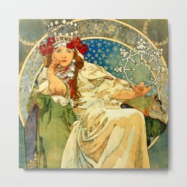 "Alphonse Mucha  ""Princess Hyacinth"" Metal Print"