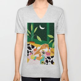 Moon Lover, Bold Quirky Fashion Illustration, Eclectic Decor Modern Bohemian Plant Lady Unisex V-Neck
