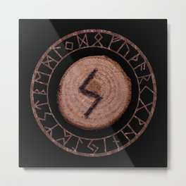 Sowilo Elder Futhark Rune Success, goals achieved, honor. The life-force, health, victory Metal Print