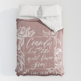 Consider How the Wildflowers Grow- Chalk Botanical Illustration with Wildflowers Comforters