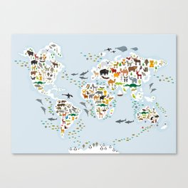 Cartoon animal world map for children and kids, Animals from all over the world, back to school Canvas Print