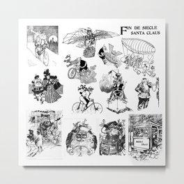 Victorian Christmas Tech Santa Claus Metal Print