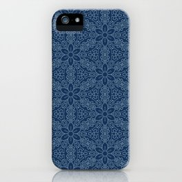 Damask flower motif sashiko stitch pattern. iPhone Case
