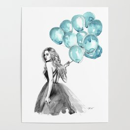 Balloons Turquoise  Poster
