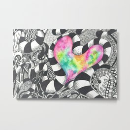Watercolor Heart with Black and White Doodles Metal Print