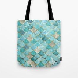Moroccan Mermaid Fish Scale Pattern, Aqua,Teal Tote Bag
