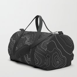 Black & White Topography map Duffle Bag