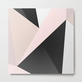 Geometrical pastel pink black white abstract triangles Metal Print