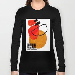 Mid Century Modern Abstract Vintage Pop Art Space Age Pattern Orange Yellow Black Orbit Accent Langarmshirt