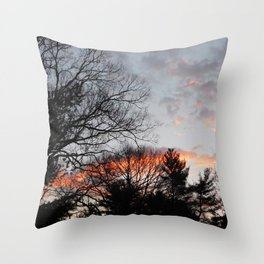 red clouds in the sky Throw Pillow