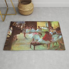 Classical Masterpiece 'Ballet School' by Edgar Degas Rug