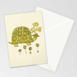 go slow retro turtle // art by surfy birdy Stationery Cards