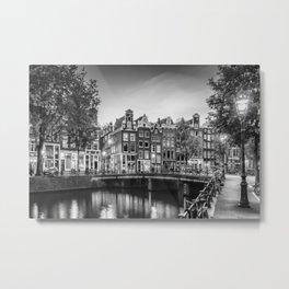 AMSTERDAM Idyllic impression from Singel | Monochrome Metal Print