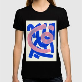 Tribal Pink Blue Fun Colorful Mid Century Modern Abstract Painting Shapes Pattern T-shirt
