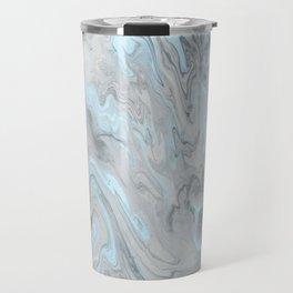 Ice Blue and Gray Marble Travel Mug