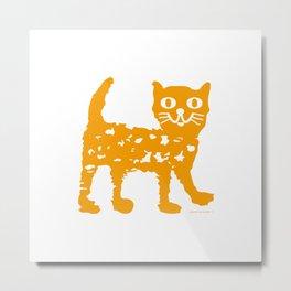 Orange cat illustration, cat pattern Metal Print