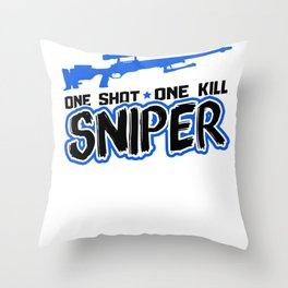 Sniper One Shot, One Kill | Gun Throw Pillow