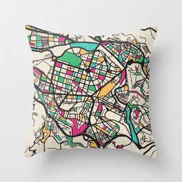Colorful City Maps: Bilbao, Spain Throw Pillow