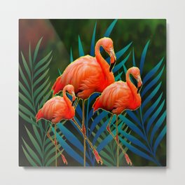 TROPICAL FLORIDA PINK FLAMINGOS IN  BLUE FOLIAGE Metal Print