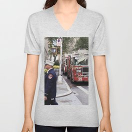 The Fire Dept of New York at 30 Rock Unisex V-Neck