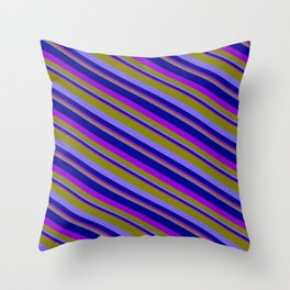 Green, Medium Slate Blue, Dark Blue, and Dark Violet Colored Pattern of Stripes Throw Pillow