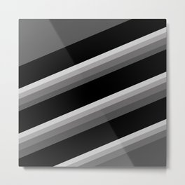 Simple black and white striped pattern . Oblique stripes . Metal Print