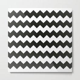 Black & white chevron pattern Metal Print