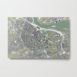 Amsterdam city map engraving Metal Print