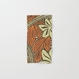 Cream orange retro colored Polynesian floral tattoo design Hand & Bath Towel