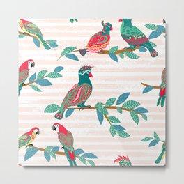 Parrots Seamless Pattern Metal Print