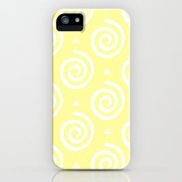 Happy Swirls Pattern on Yellow. iPhone Case