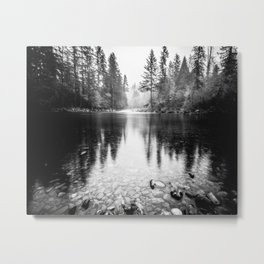 Forest Reflection Lake - Black and White  - Nature Photography Metal Print