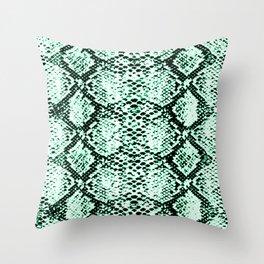 snake edgy green Throw Pillow