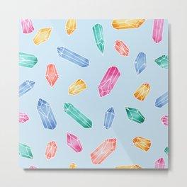 Crystals pattern - Light Blue Metal Print