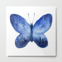 Blue Galaxy Butterfly Metal Print