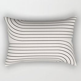 Minimal Line Curvature - Black and White I Rectangular Pillow