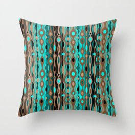 Retro Bohemian Gypsy Beaded Dangles // Vertical Gradient Chocolate Brown, Turquoise, Teal Throw Pillow
