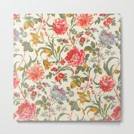 Tiger Lily Vintage Chintz Floral Pattern Metal Print