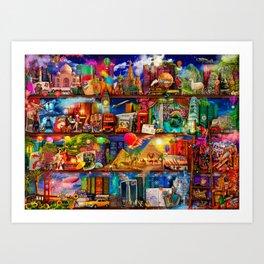 World Traveler Book Shelf Art Print