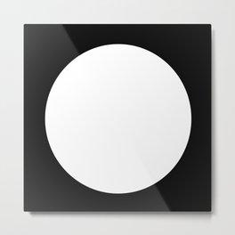 One Dot Series 01 - 03 - Full Moon - White on Black - Two Tone Minimalism - Minimal Abstract Spot Metal Print