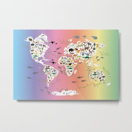 Cartoon animal world map for children and kids, back to school. Rainbow. Scandinavian decor. Metal Print