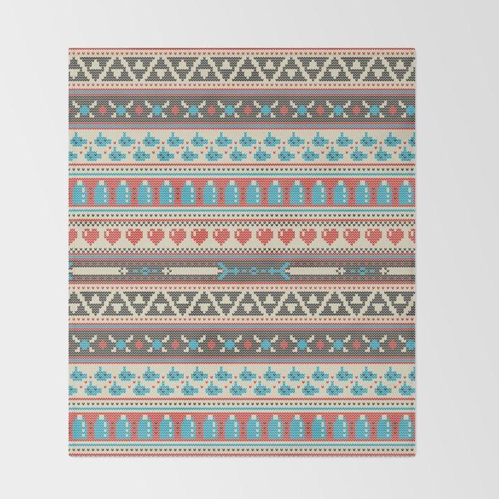 Fair-Hyle Knit Throw Blanket