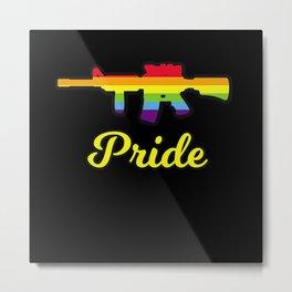 Pride Gun Rights funny Rainbow Rifle Metal Print