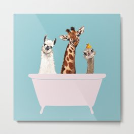 Playful Gangs in Bathtub Blue Metal Print