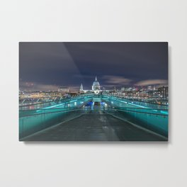 Millennium Bridge Looking toward St Paul's Metal Print