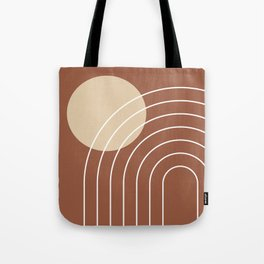 Geometric Lines in Terracotta Tote Bag