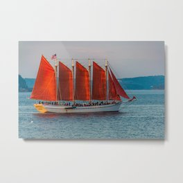 Sailing Ship off Bar Harbor Maine Coast Print Metal Print