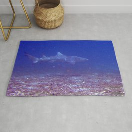 Watercolor Shark, Lemon Shark 01, St John, USVI, Come a Little Closer! Rug