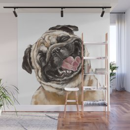 Happy Laughing Pug Wall Mural