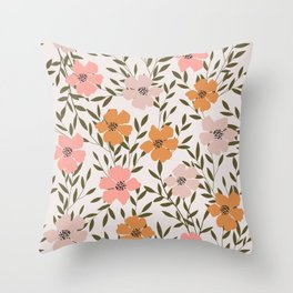 70s Floral Theme Throw Pillow